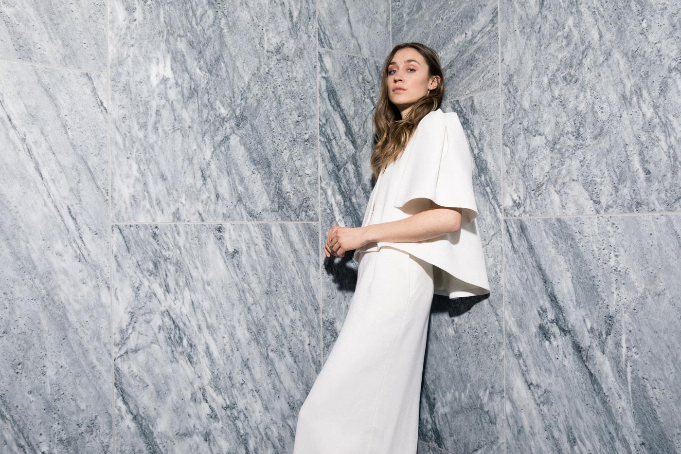 Maria Fekih wedding dress and jacket with pockets, modern bride