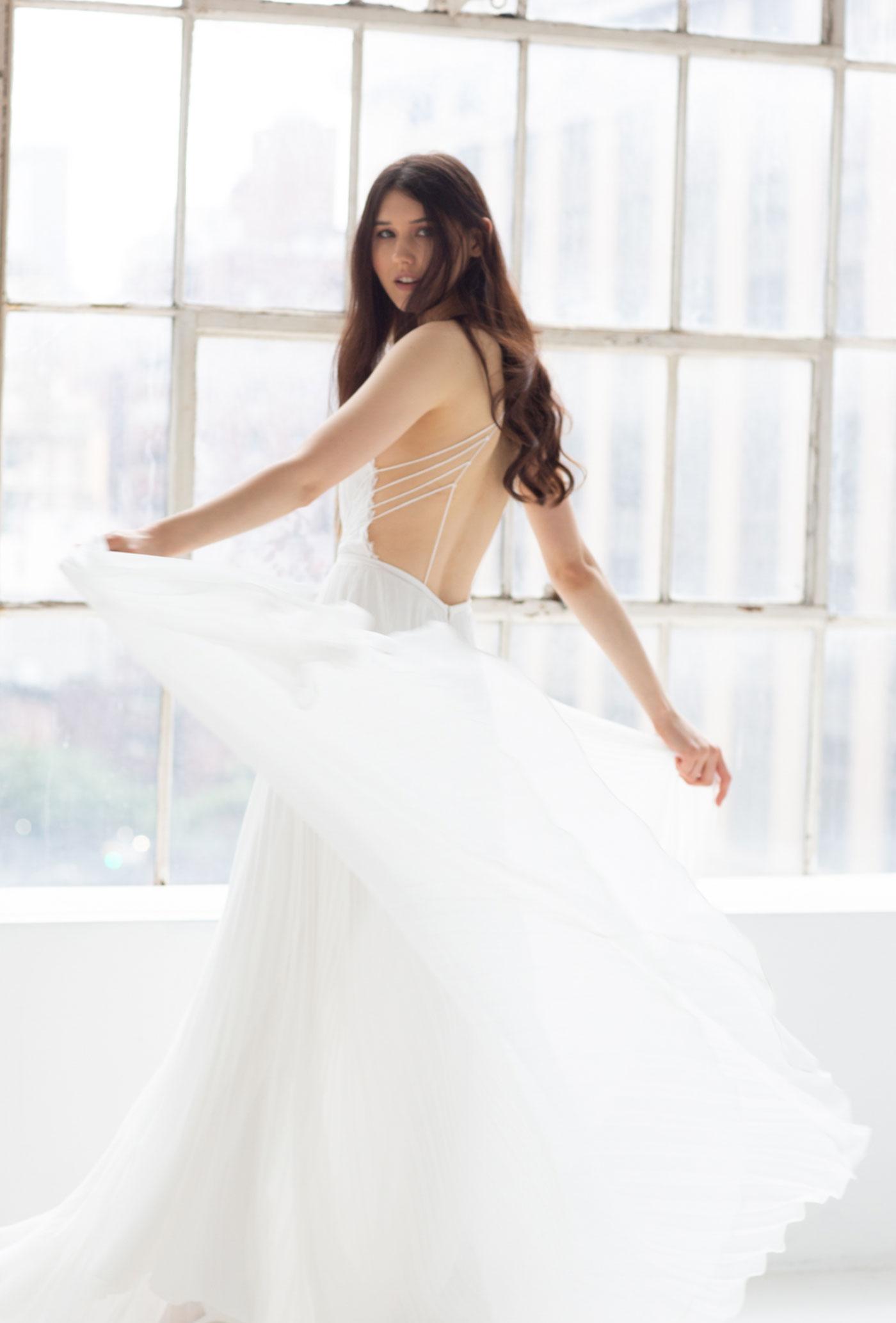 sheer, backless wedding dress