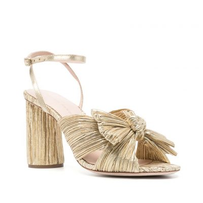 gold-pleated-bow-high-heel-shoes