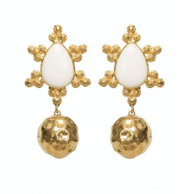 hammered gold statement bridal earrings