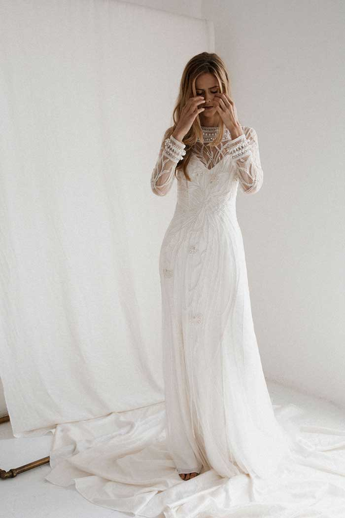 Bo & Luca Elliot Beaded and Sequin Cut Out Back Wedding Dress With Long Sleeves