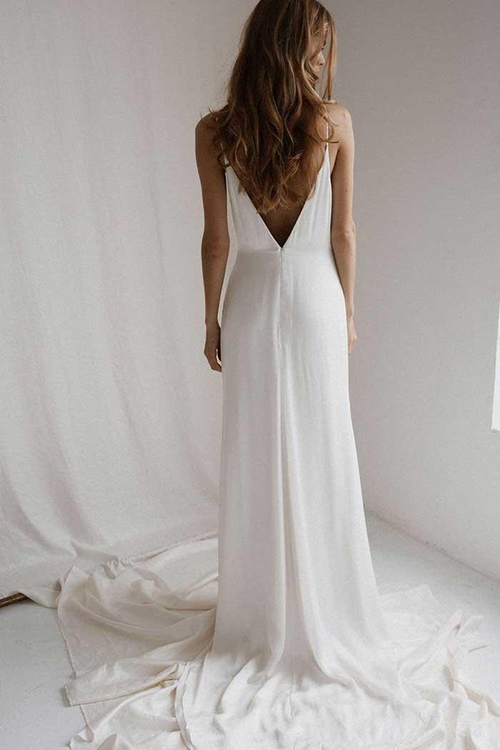 Bo & Luca Esme Slip Wedding Dress White Silk Low Back