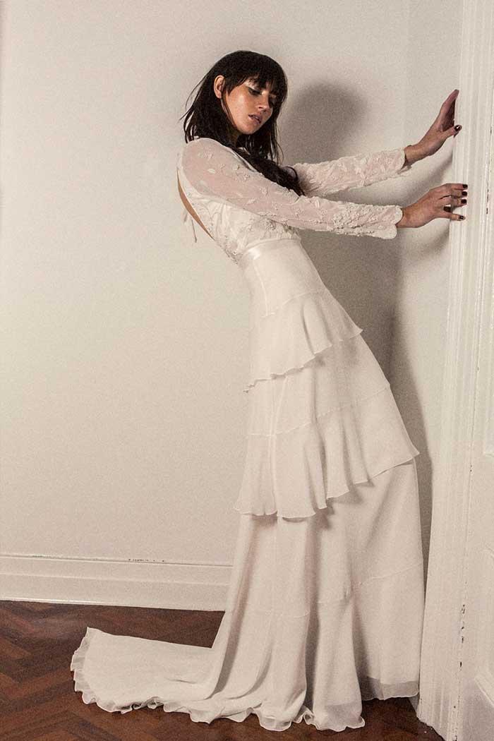 Bo & Luca Primrose Wedding Dress Long Sleeve Low Back