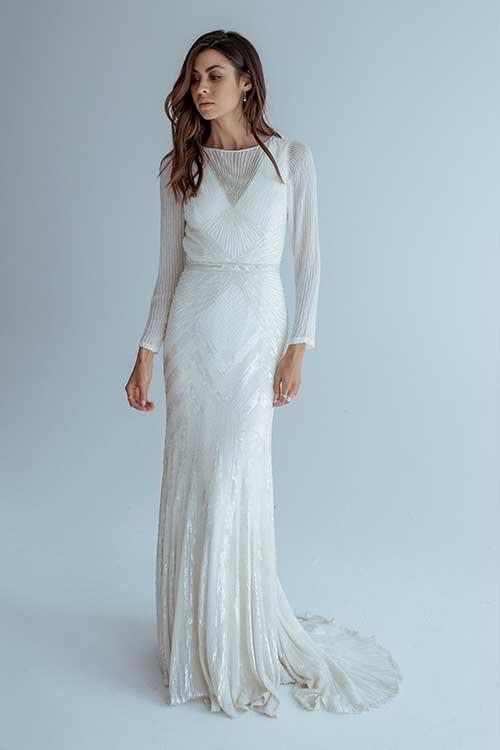 Karen Willis Holmes Cassie Dress Sequin Long Sleeve Crop