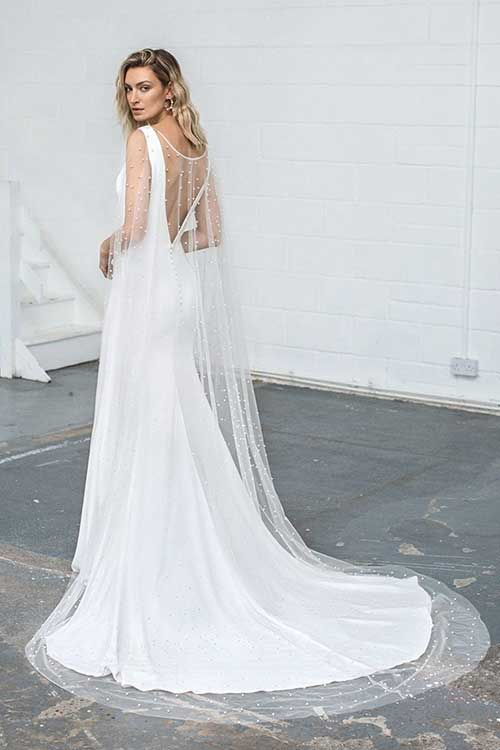 Love Story Bride Pearl Wedding Long Cape