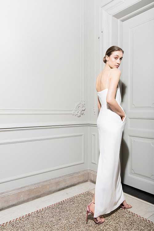 Maria Fekih Helga Wedding Dress Pockets String Straps Modern Bride