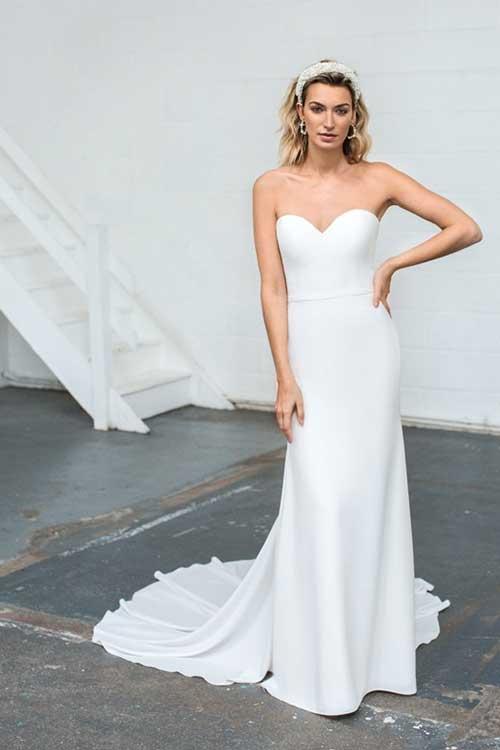 Love Story Bride Cleo Dress Strapless Silk Crepe Wedding Dress