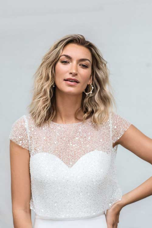 Love Story Bride Cleo Sequin Wedding Dress Removable Top