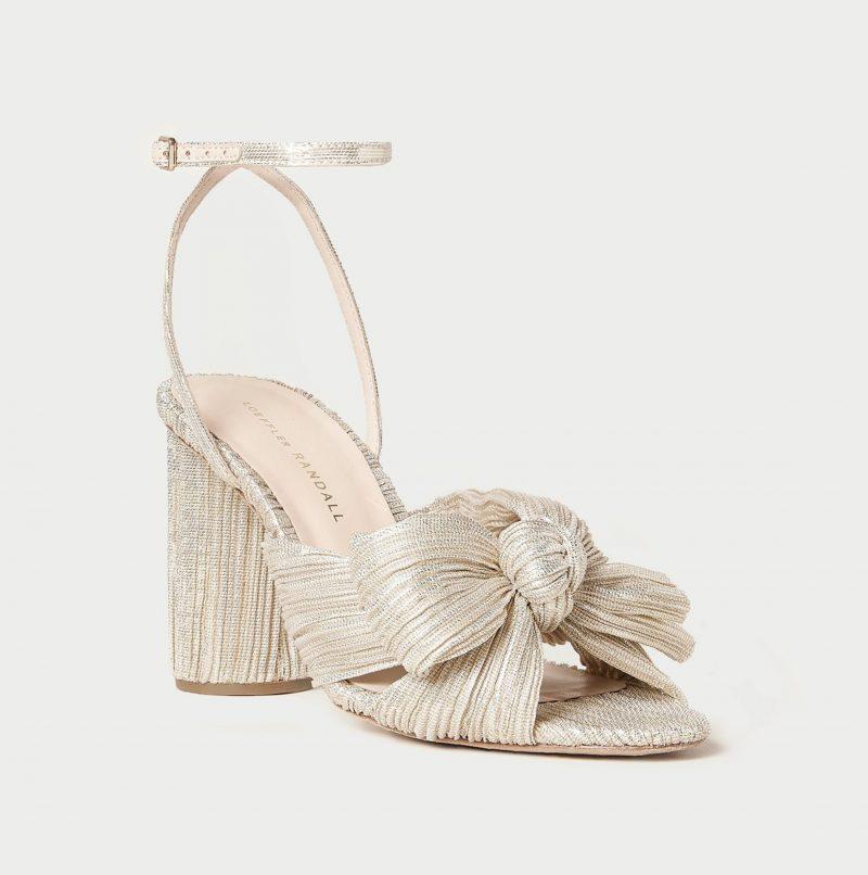 platinum gold high heel shoe