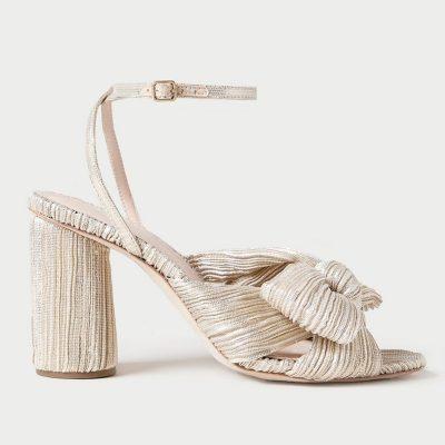 platinum gold sandal high heel shoe side profile