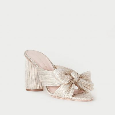 platinum mule high heel side profile