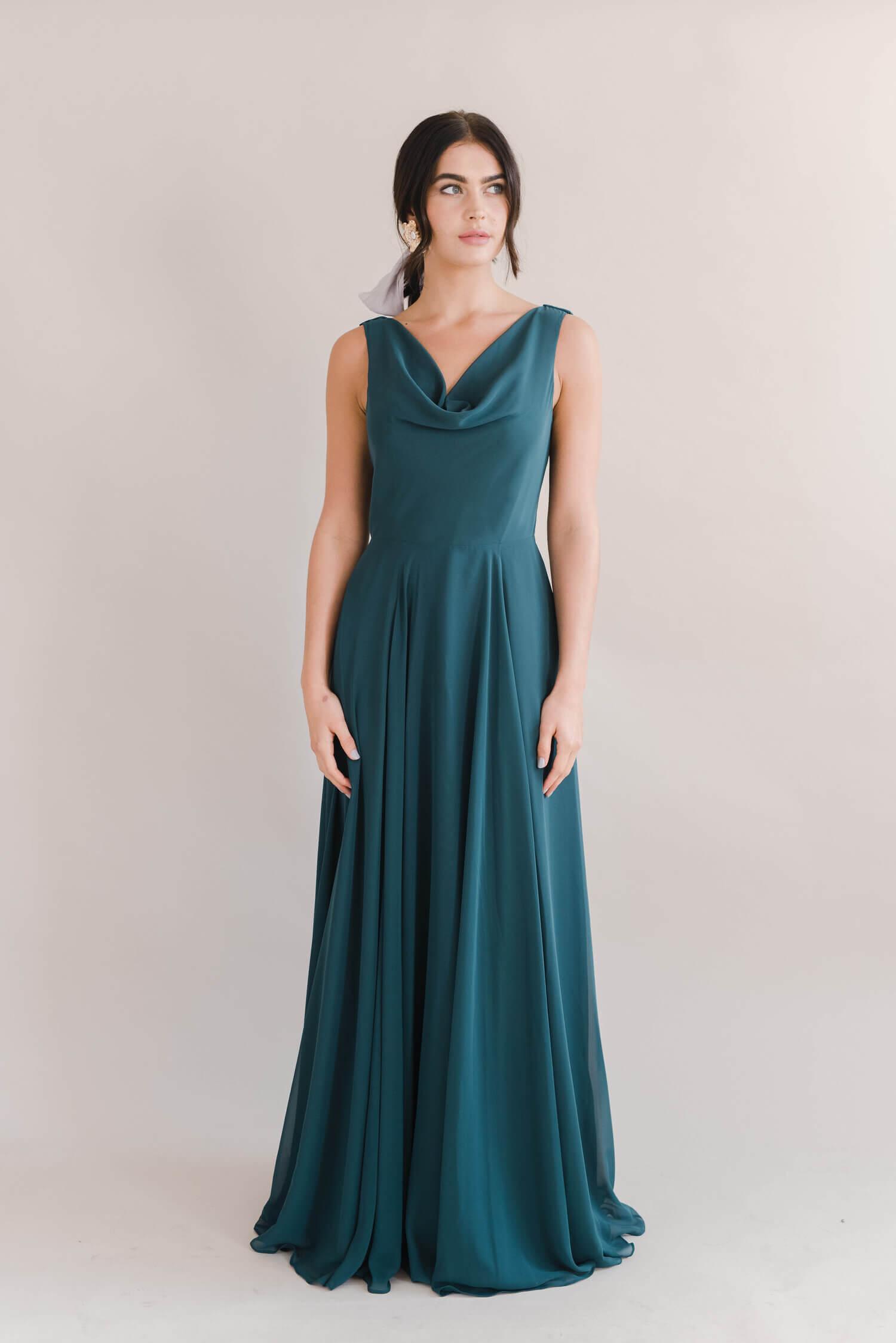 TH&H Athena Bridesmaid Dress Emerald