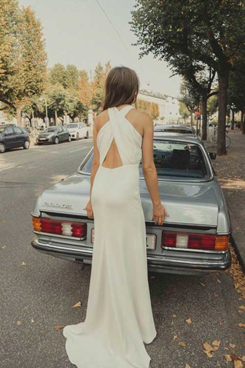 Maria Fekih Iben Wedding Dress Cross Back