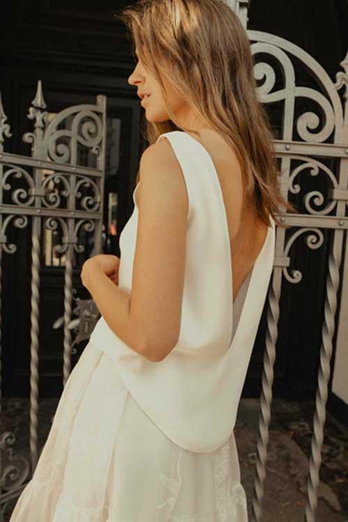 Maria Fekih Low Back Bridal Top